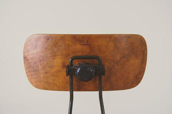 Vintage Industrial Oak and Steel Drafting by HomesteadSeattle