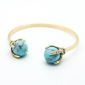 Dragon claw stone bangle bracelet