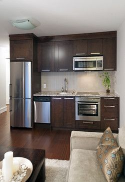 Basement Kitchen contemporary basement - only 9 feet wide with fridge, dishwasher, oven, microwave, and induction cooktop