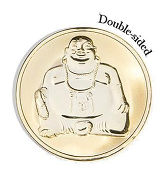Mi Moneda Medium Gold Plated Buddha Coin from Michael Jones Jeweller