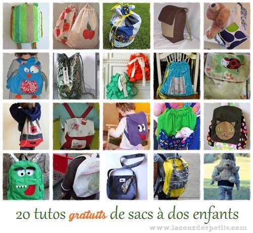 A l'occasion de la rentrée, retrouvez une sélection de 20 tutos gratuits de sac à dos enfant ! Une source d'inspiration pour faire un petit sac personnalisé.