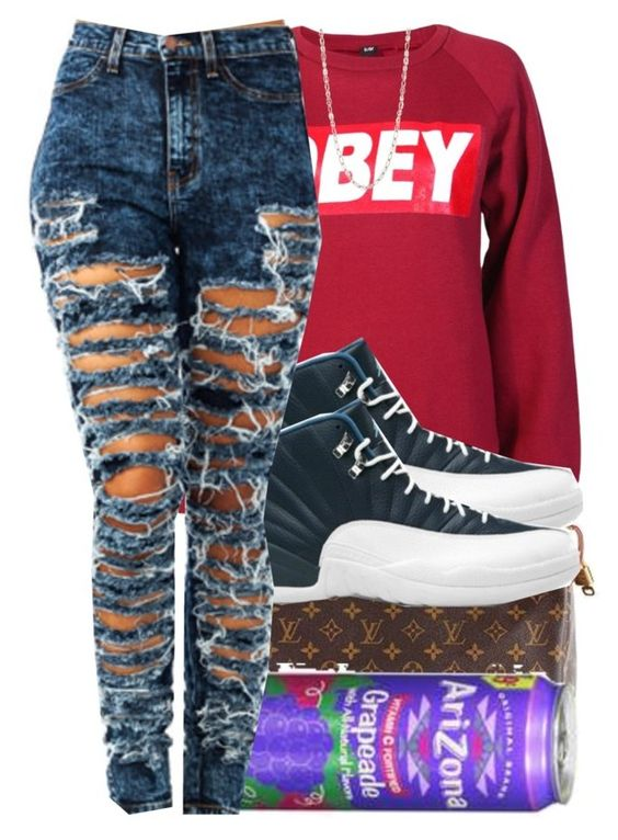 """7/5/2015"" by swagger-on-point-747 ❤ liked on Polyvore featuring Louis Vuitton, OBEY Clothing, Retrò and Anne Klein"