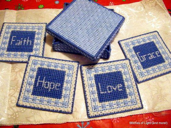 Faith Hope Love Grace Coasters with Box by stitchesoflight on Etsy, $10.00