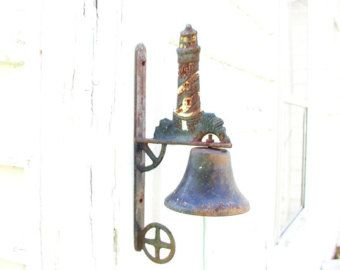 Vintage Iron Porch Bell Lighthouse Ocean Nautical Rusty Weathered