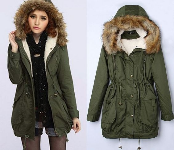 Details about Women&39s Thick Military Jacket Faux Fur Hood Long
