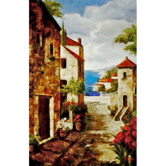 Seashore cottages by blue ocean cheap oil painting for for Cheap canvas paintings for sale
