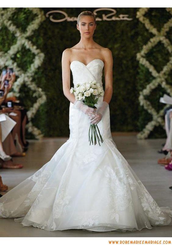 Boutique robe de mariage blanche sirène 2013 appliques organza
