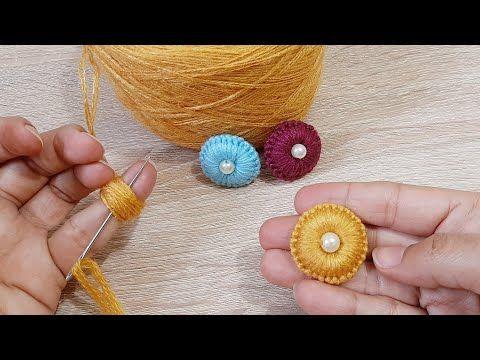 طريقة عمل وردة جميلة وسهلة التطريز اليدوي Easy Flower With Hand Embroidery Amazing Trick Youtube Crochet Buttons Crochet Earrings