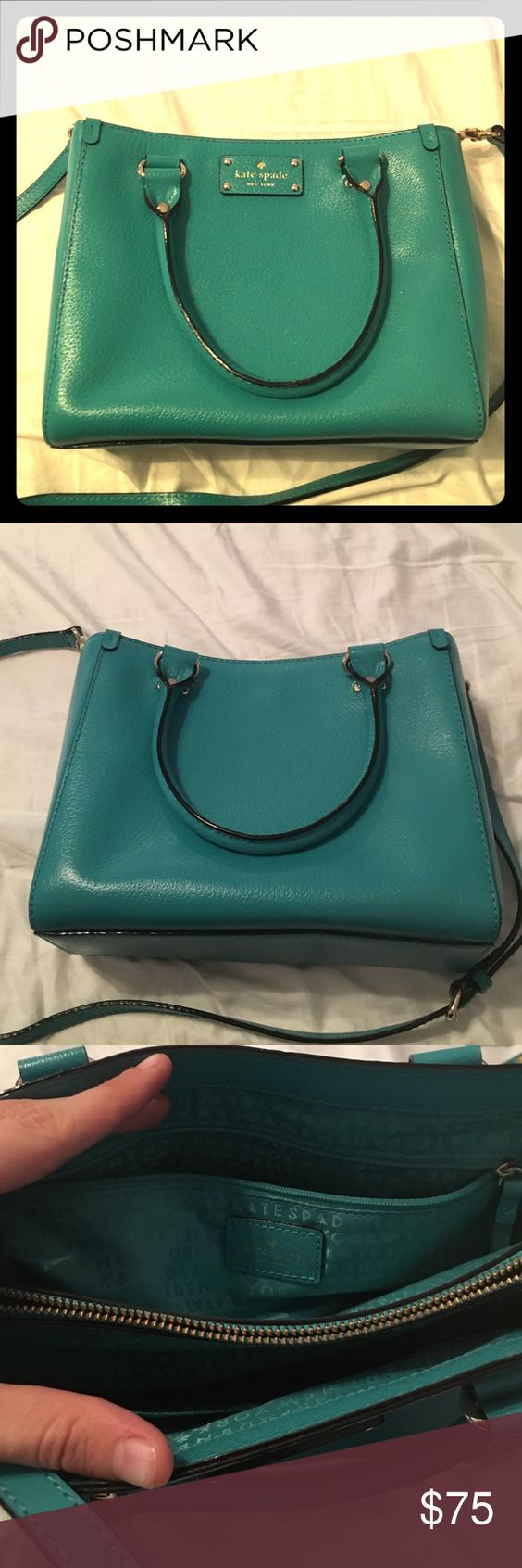 Kate Spade Handbag Turquoise Kate Spade Handbag. Authentic. Perfect condition. I bought it and have never used it. Absolutely no blemishes, rips, tears, or stains. It's a beautiful turquoise with gold hardware, and it doesn't deserve to just sit in the back of my closet! kate spade Bags Shoulder Bags