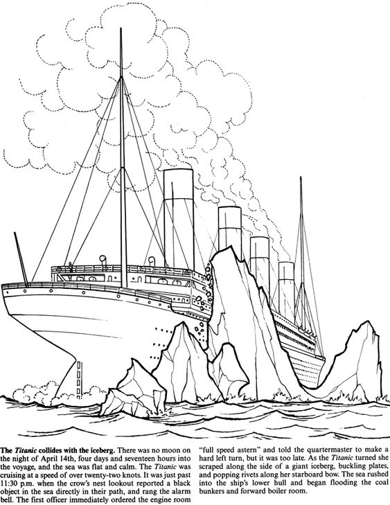 Welcome to colors and dover publications on pinterest for Titanic coloring pages to print