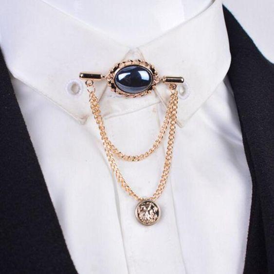 Gold//Silver  Vintage Brooch Wedding Men/'s Tassel Collar Chain Pin