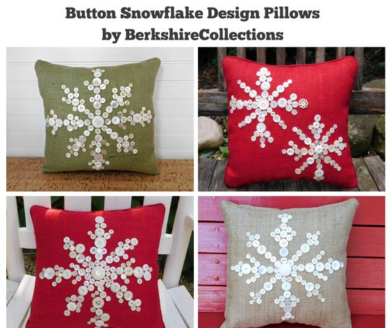 Button Snowflake Design Pillows by BerkshireCollections
