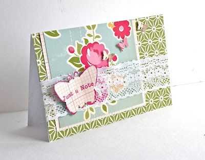 Handmade card I created for a class I am teaching March 25th in TN Just A Note-butterfly card