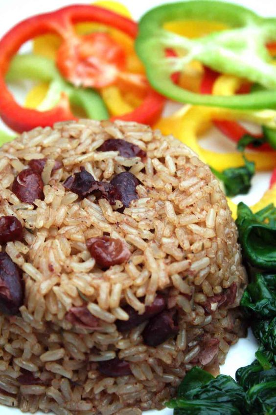 Jamaican Rice And Peas.  Rich, herby, flavourful. Vegan and Vegetarian.
