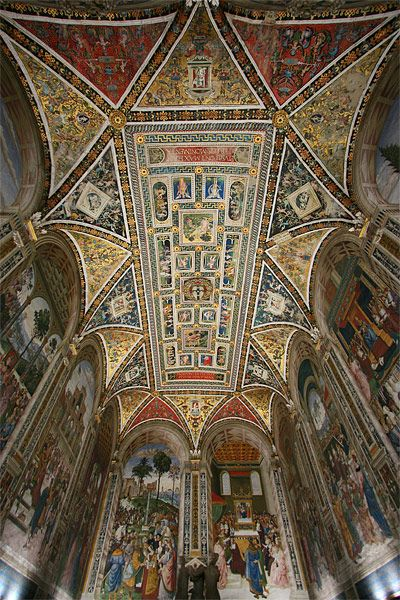 Siena Cathedral: this was my favorite cathedral on our one month Europe trip in 2011. The black & white was stunning and I loved this ceiling in the library.