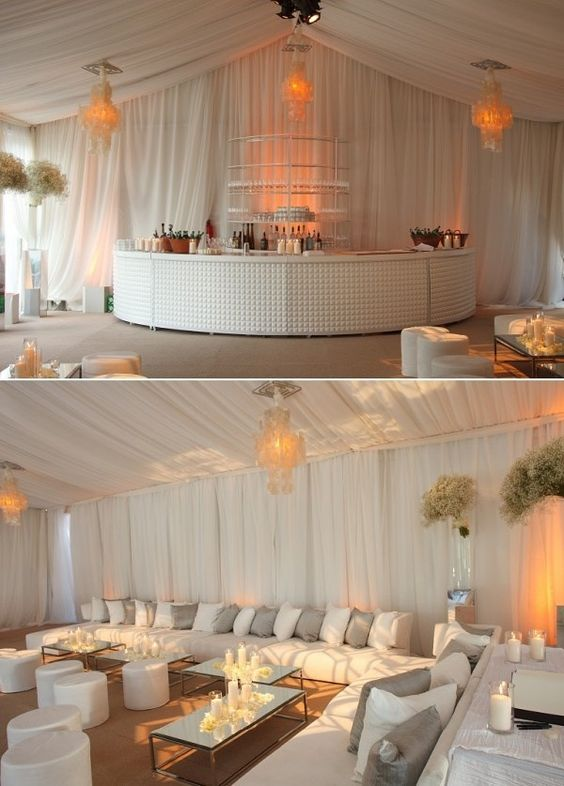 bar and lounge area in mini marquee on the lawn.food is served on the far side of a small dance floor.where the string quartet play.