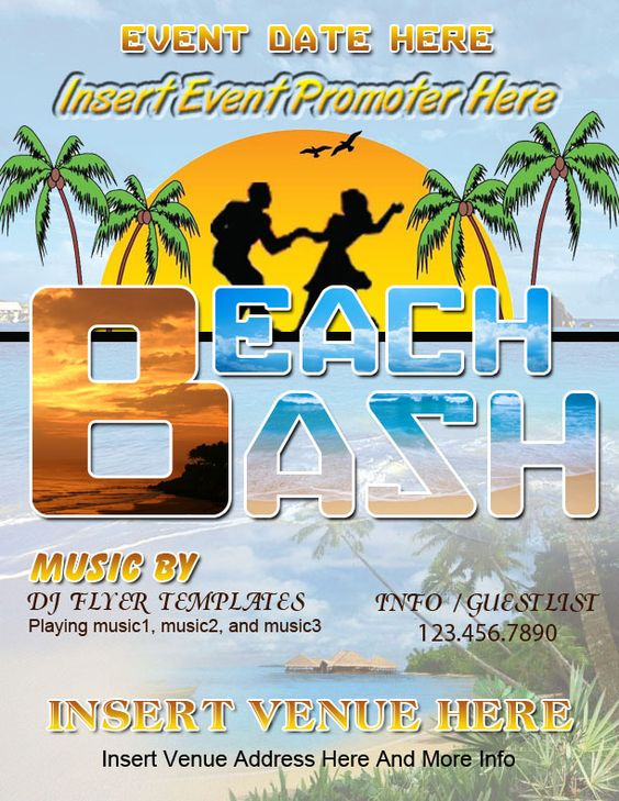 MS Word Beach Bash Flyer Word Business Templates Pinterest - flyer templates for microsoft word