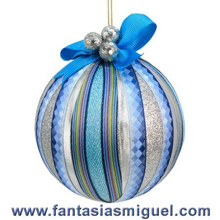 Esfera deco con listones azul plata como hacer - Como hacer color turquesa ...