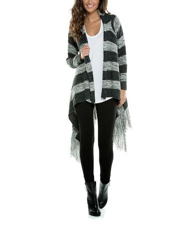 Loving this Black & Gray Stripe Drape Open Cardigan on #zulily! #zulilyfinds
