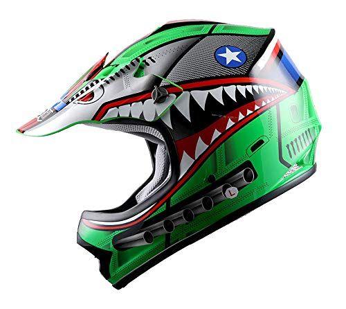Wow Youth Kids Motocross Bmx Mx Atv Dirt Bike Helmet Shark Green Car Accessories Online Market Dirt Bike Helmets Dirt Bike Cool Dirt Bikes