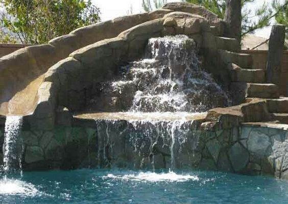 waterfall pool slide diy inspiration dream home feature