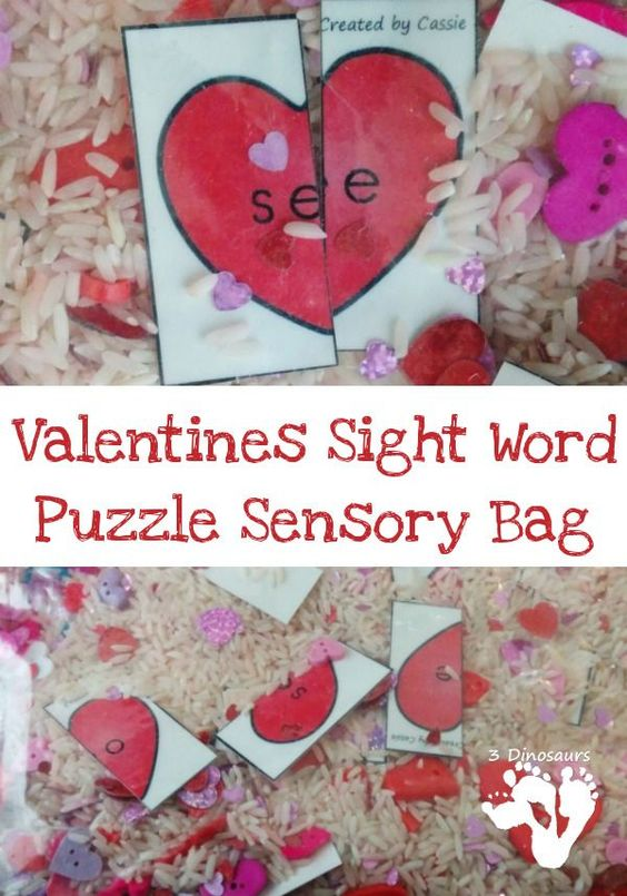 FREE Valentines Sight Word Puzzles for sensory bags or sensory