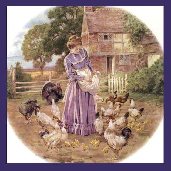 "Feeding the Chickens -  Farm Wife Art on 6"" ceramic tile..:"