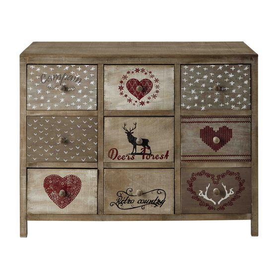 Cabinet de rangement en bois de paulownia L 100 cm Heidi Maisons - küchen unterschrank 100 cm