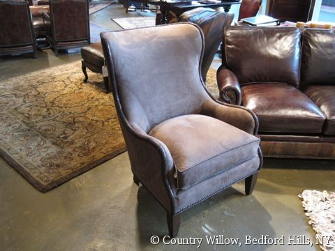 Gray Leather Wingback Chair With Nail Heads  Country Willow Furniture |  Leather Sofas, Chairs U0026 Sectionals | Pinterest | Leather Sofas, Leather  Wingback ...