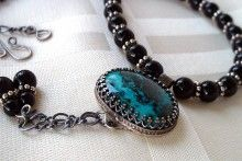 Shattuckite, Black Onyx, Sterling Silver pendant necklace Metalwork Necklace Stone Cabochon Pendant AJJewelryDesigns - http://www.sellergroup.com/shop/AJJewelryDesigns #sellergroup