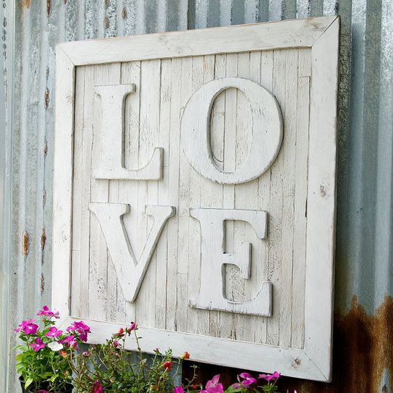 Pallet love sign letters oversize wedding nursery wall art for Large wall letters for nursery