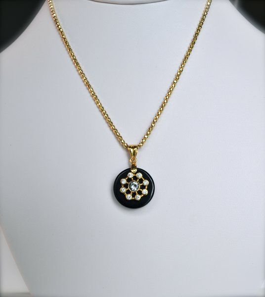 Small Black Onyx and Gold Constellation Pendant with White Cubic Z | HeartHabits Deliciously Beautiful Apparel and Home Decor.