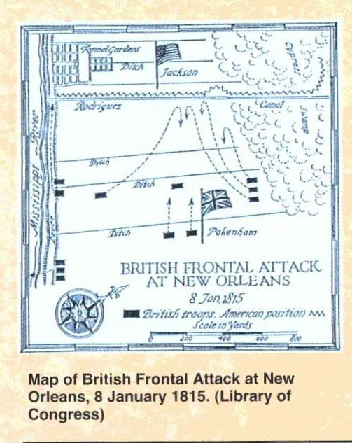 View Image -  Map of British Frontal Attack at New Orleans, 8 January 1815. (Library of Congress)