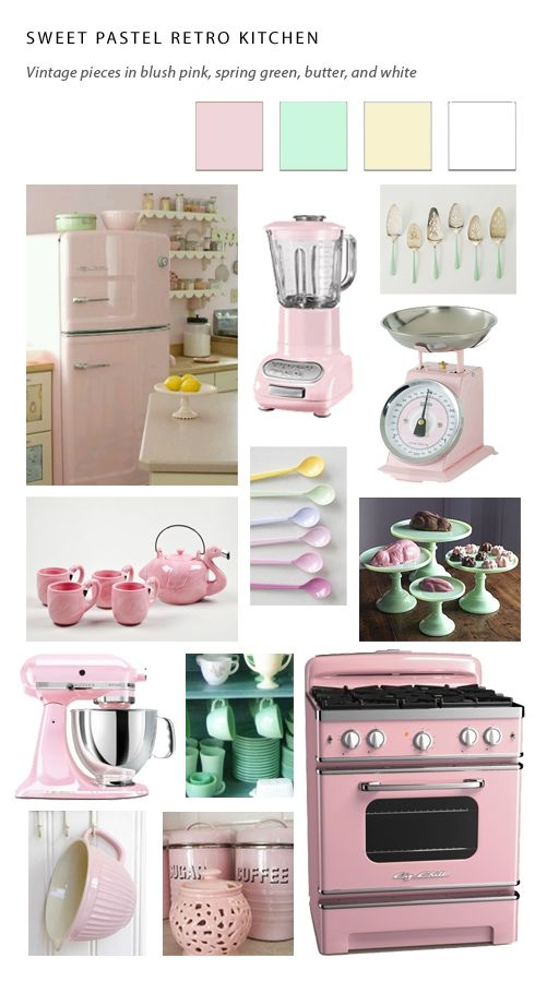 Pastel kitchen pastel and kitchen appliances on pinterest for Small retro kitchen