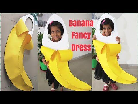 Funny Boys Girls Banana Costume Yellow Fruit Kids Birthday Party Fancy Dress