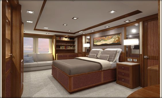 Nordhavn 120-Master Stateroom-Forward View-Custom Yacht Interior Design-Destry Darr Design