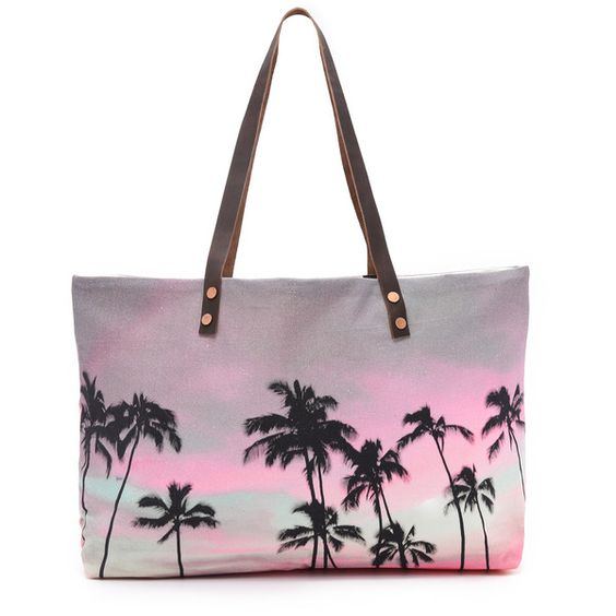 Samudra Haleiwa Beach Bag (¥12,430) ❤ liked on Polyvore featuring bags, handbags, tote bags, bolsas, haleiwa, leather purse, genuine leather purse, leather beach bag, palm tree purse and real leather tote