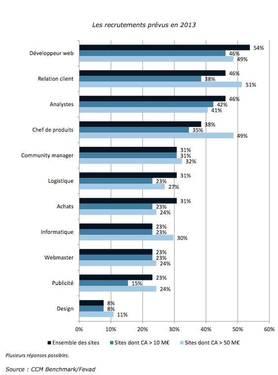 Recrutements prévus par le e-commerce français en 2013