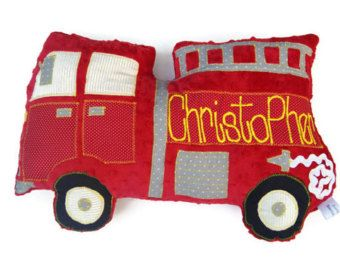 Firetruck Pillow, Fire Truck, Personalized, Custom Truck Plush Pillow, Toddler Plush Toy