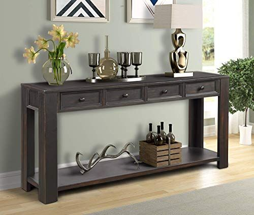 Buy Console Sofa Table Living Room Weyoung Wood Entryway Table Storage Drawers Bottom Shelf 64 L X 15 W X 30 H Distressed Black Online Topusashoppingsit In 2020 Sofa Tables Living Room