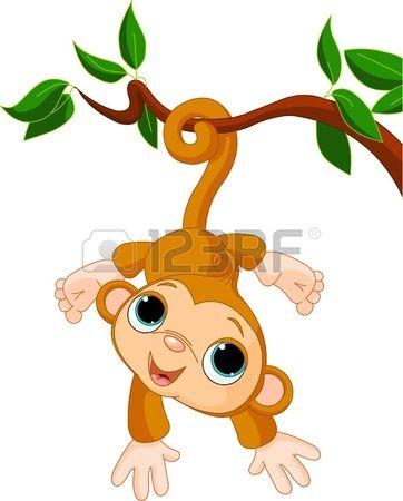 Abbildung von Cute Baby Monkey auf einem Baum