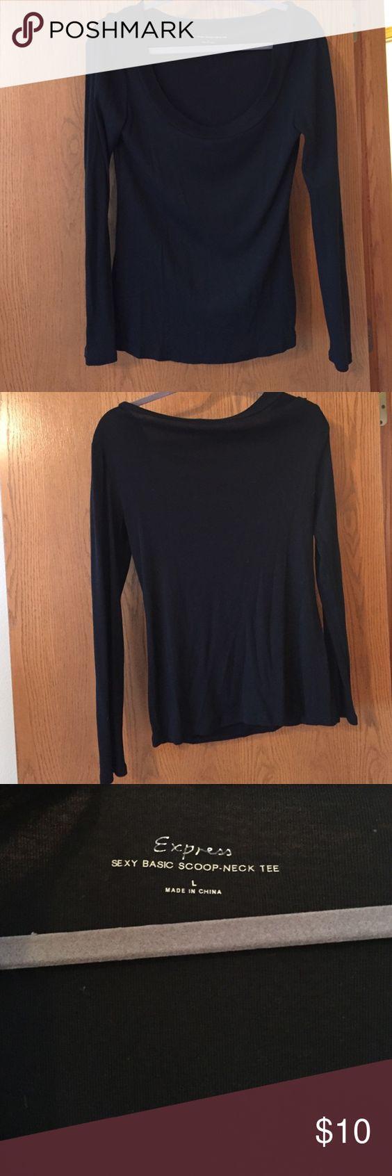 Black t shirt express - Express Long Sleeve Express Long Sleeve Black Scoop Neck Shirt Express Tops Tees Long Sleeve