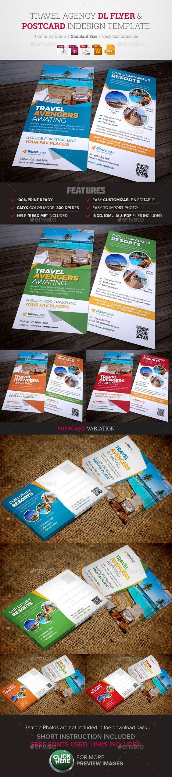 travel agency dl flyer postcard indesign design travel and flyers. Black Bedroom Furniture Sets. Home Design Ideas