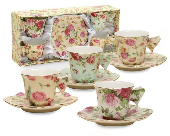 Gracie China Rose Chintz 2-Ounce Porcelain Espresso Cup and Saucer…$28.74