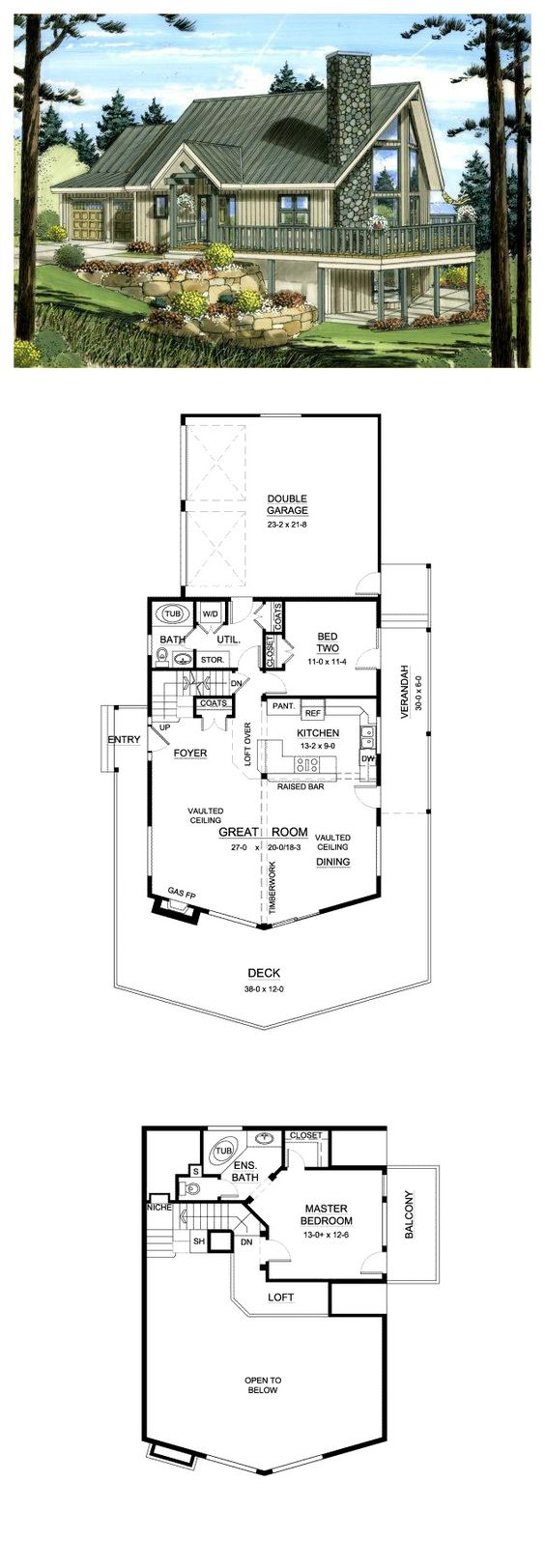 A Frame House Plan 96212 House Plans Fireplaces And