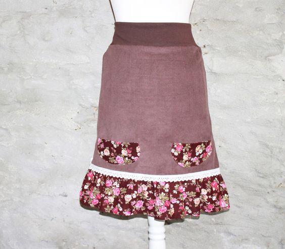 Midiröcke - Trachtenrock brauner Cordrock nach Maß Rosenmuster - ein…