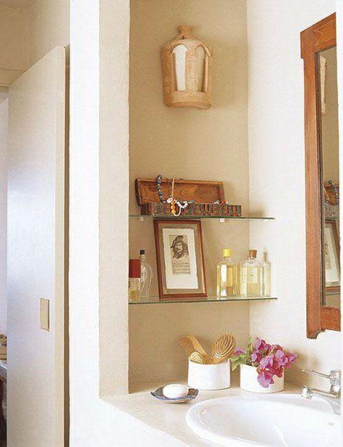 einrichtungsideen fürs kleine badezimmer glas regale spiegel | bad
