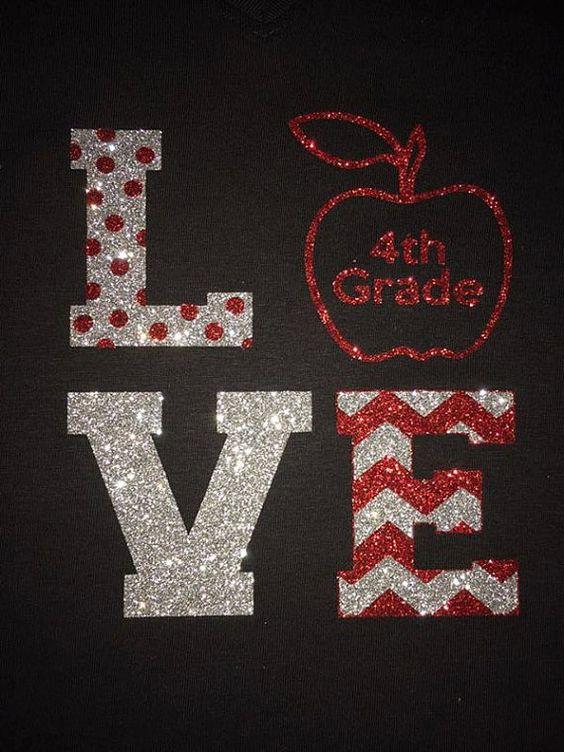 Love 4th Grade TEacher Glitter Bling Shirt by ShopSimplyBling