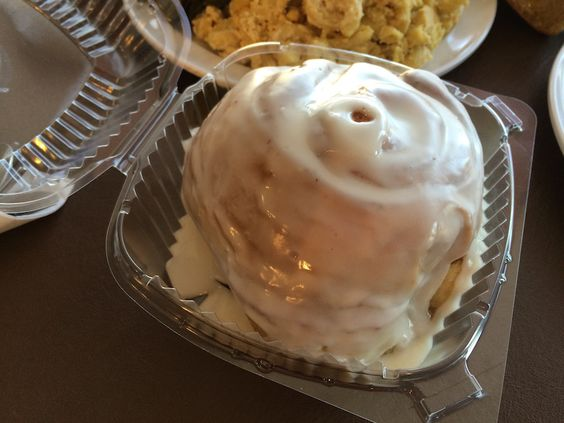 Huge cinnamon roll at D.C.'s Woodlands Vegan Bistro.
