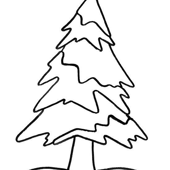 Nature S Christmas Tree Line Drawing Of A Pine Tree Covered In Snow Winter Wonderland Available On Mugs Notebooks Sti Tree Line Drawing Christmas Tree Tree